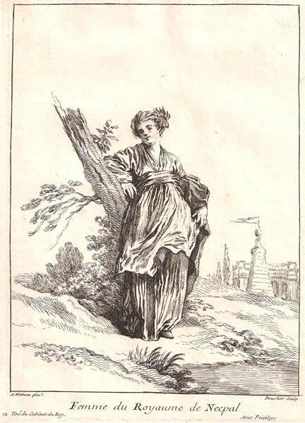 François BOUCHER (Francia, 1703 – 1770) – FEMME DU ROYAUME DE NEEPAL
