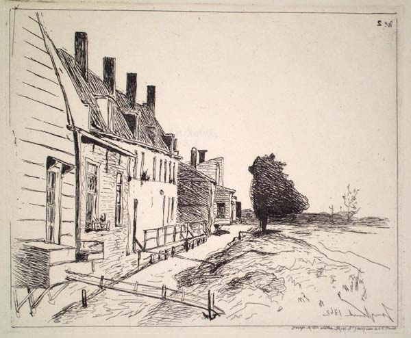 Joan-Barthold JONGKIND (Olanda, 1819 – 1891) – LES MAISONS AU BORD DU CANAL
