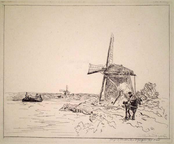 Joan-Barthold JONGKIND (Olanda, 1819 – 1891) – LE CHEMIN DE HALAGE