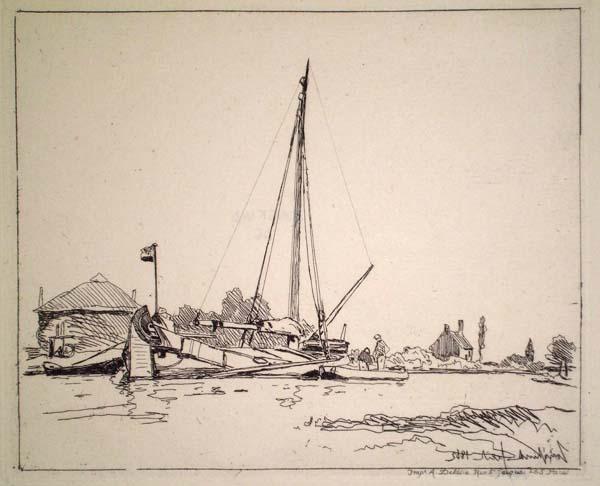 Joan-Barthold JONGKIND (Olanda, 1819 – 1891) – LA BARQUE AMARREE