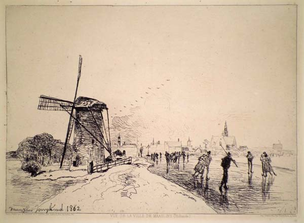 Joan-Barthold JONGKIND (Olanda, 1819 – 1891) – VUE DE LA VILLE DA MAASLINS (1862)