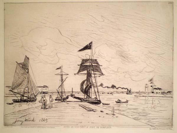 Joan-Barthold JONGKIND (Olanda, 1819 – 1891) – JETEE EN BOIS DANS LE PORT DE HONFLEUR (1865)