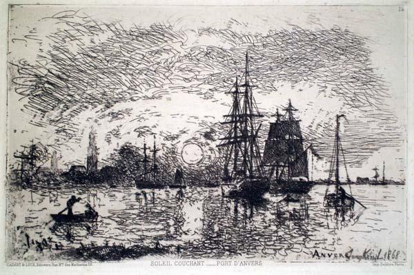 Joan-Barthold JONGKIND (Olanda, 1819 – 1891) – SOLEIL COUCHANT – PORT D'ANVERS (1868)