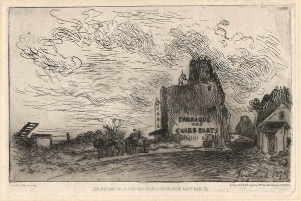 Joan-Barthold JONGKIND (Olanda, 1819 – 1891) – DEMOLITIONS DE LA RUE DES FRANCS-BOURGEOIS SAINT MARCEL (dicembre 1873)