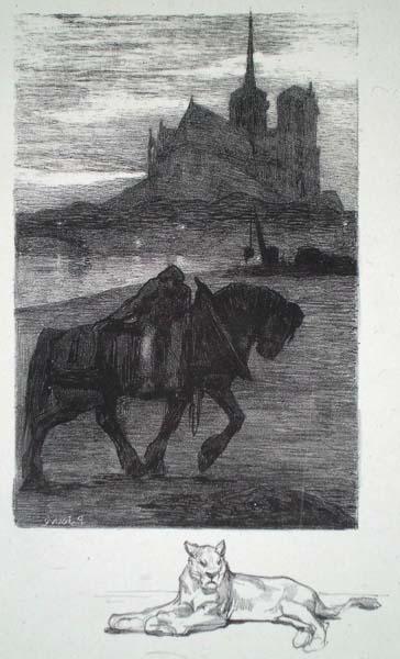 Paul JOUVE (Francia, 1880 – 1973) – CHEVAL DE HALAGE DEVANT NOTRE DAME (1901)