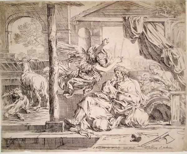 Sebastien BOURDON (Francia, 1616 – 1671) – IL SOGNO DI GIUSEPPE