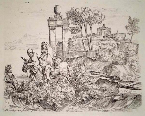 Sebastien BOURDON (Francia, 1616 – 1671) – FUITE EN EGYPTE