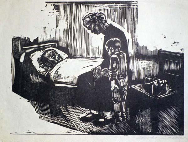 Kathe KOLLWITZ (Germania, 1867 – 1945) – BESUCH IM KRANKENHAUS (1929)
