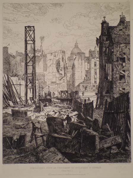 Maxime LALANNE (Francia, 1827 – 1886) – DEMOLITION POUR LE PERCEMENT DU BOULEVARD SAINT-GERMAIN