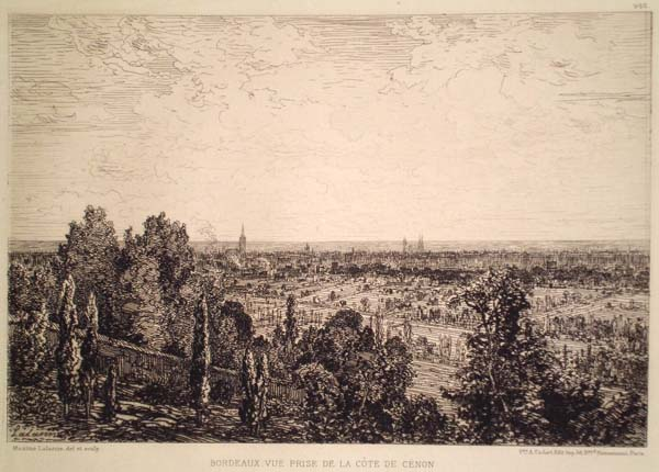 Maxime LALANNE (Francia, 1827 – 1886) – BORDEAUX. VUE PRISE DE LA COTE DE CENO