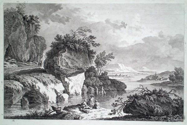 Friedrich Auguste BRAND (Austria, 1755 – 1806) – PAESAGGIO FLUVIALE
