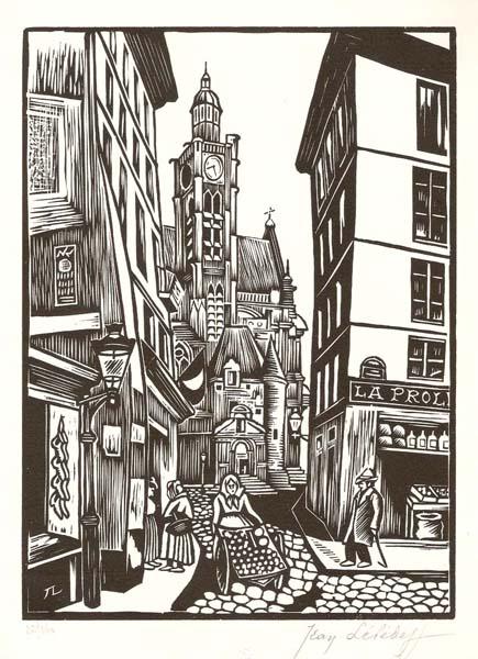 Jean LEBEDEFF (Russia, 1884 – 1970) – VIEUX PARIS. RUE DE LA MONTAIGNE-SAINTE-GENEVIEVE