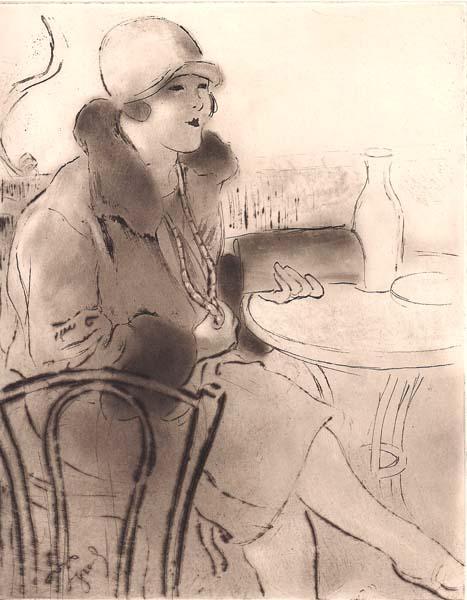 Louis LEGRAND (Francia, 1863 – 1951) – FEMME AU COLLIER AU CAFE