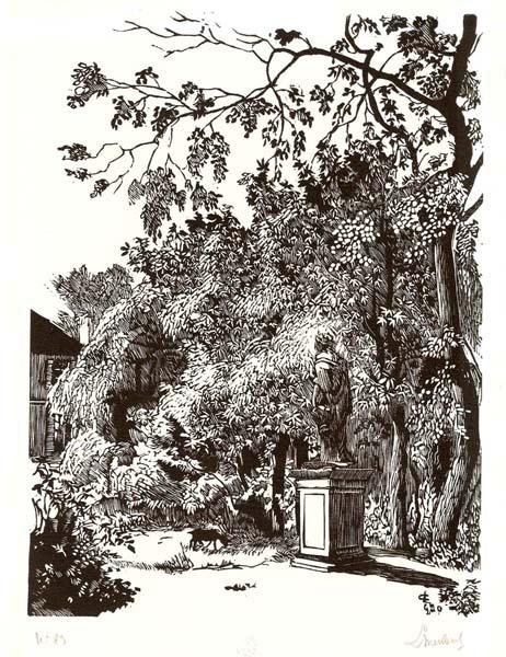 Georges LE MEILLEUR (Francia, 1861 – 1945) – DANS LE PARC DE LA MAISON – PERROTIN À CHATILLON – SOUS BAGNEUX