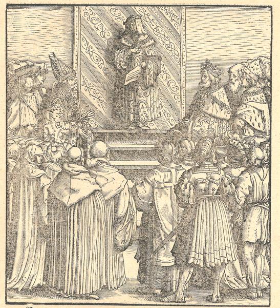 Hans BURGKMAIR (Baviera, 1473 – 1531) – IL RE BIANCO DAVANTI AI RAPPRESENTANTI DI OGNI CETO