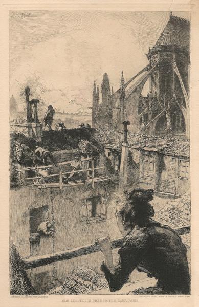 Auguste Louis LEPERE (Francia, 1849 – 1918) – SUR LES TOITS PRES NOTRE DAME. PARIS (1891)