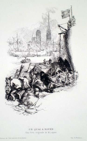 Auguste Louis LEPERE (Francia, 1849 – 1918) – UN QUAI À ROUEN