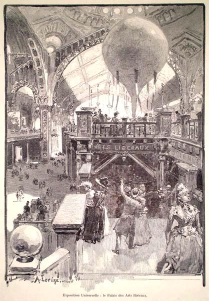 Auguste Louis LEPERE (Francia, 1849 – 1918) – EXPOSITION UNIVERSEL: LE PALAIS DES ARTS LIBERAUX