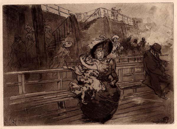 Auguste Louis LEPERE (Francia, 1849 – 1918) – SUR LA TAMISE: EN ETTENDANT LE DEPART DU BATEAU