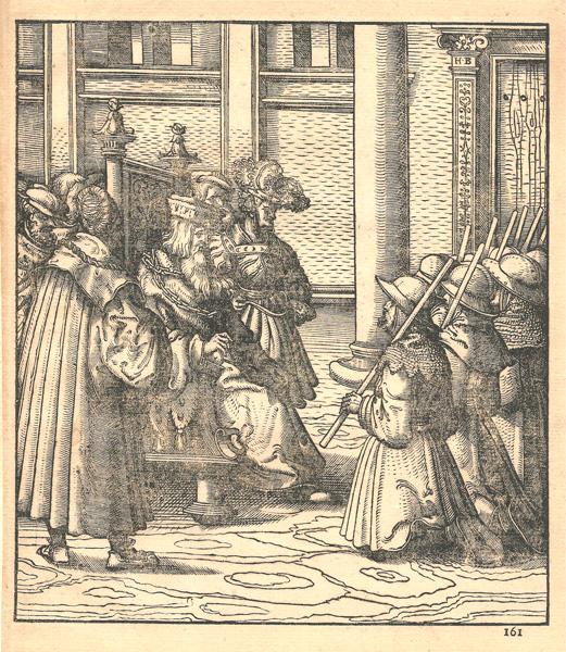 Hans BURGKMAIR (Baviera, 1473 – 1531) – IL PARTITO MARRONE E BIANCO CHIEDE GRAZIA AL RE BIANCO PADRE