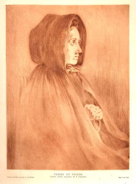 Emile LEQUEUX (Francia, 1871 – ?) – FEMME EN PRIERE