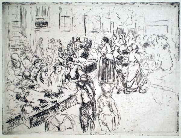 Max LIEBERMANN (Germania, 1847 – 1935) – NEL QUARTIERE EBRAICO DI AMSTERDAM. MERCATO SUI CARRETTI (1908)
