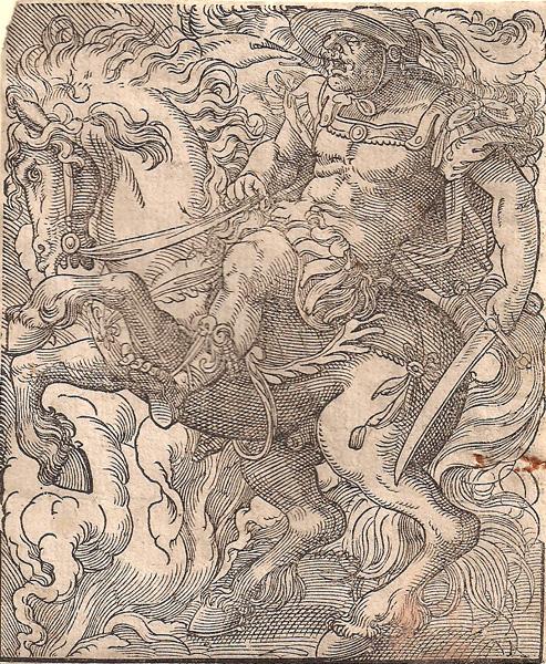Jost AMMAN (Svizzera, 1539 – 1591) – CURZIO CAVALCA NEL POZZO
