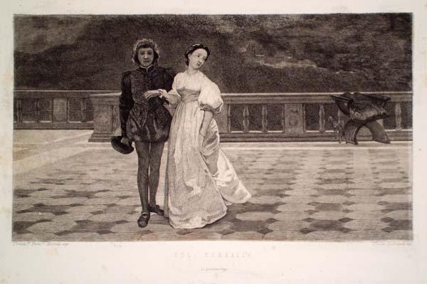 Nicola LOBRANDI (Napoli, attivo nel XIX secolo) – SUL TERRAZZO da D. Morelli