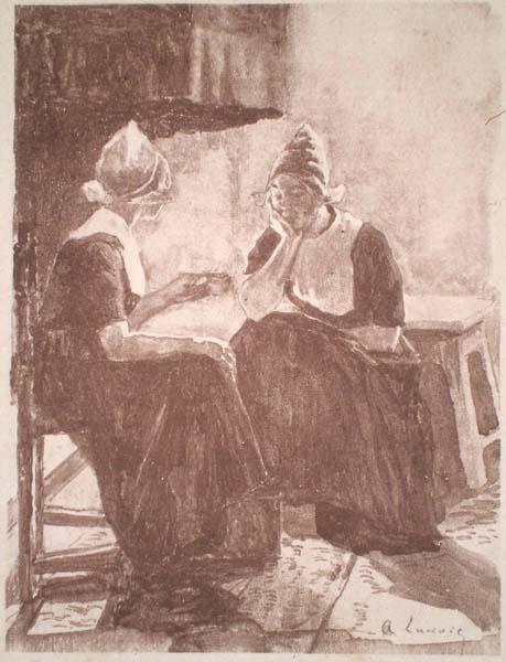 Alexandre LUNOIS(Francia, 1863 – 1916) – AU COIN DU FEU (VOLENDAM)