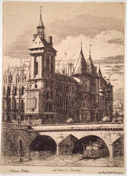 Charles MERYON (Francia, 1821 – 1868) – LA TOUR DE L'HORLOGE (1852)