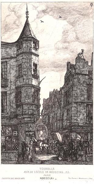 Charles MERYON (Francia, 1821 – 1868)TOURELLE, RUE DE L'ECOLE DE MEDECINE (1861)