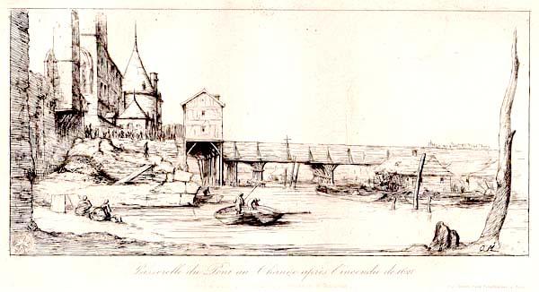 Charles MERYON (Francia, 1821 – 1868) – PASSERELLE DU PONT AU CHANGE (1860)