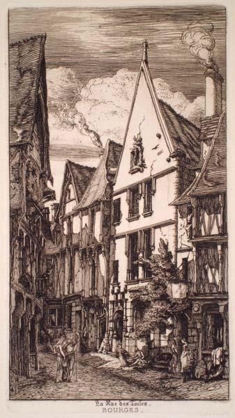 Charles MERYON (Francia, 1821 – 1868) – LA RUE DES TOILES, À BRUGES (1853)
