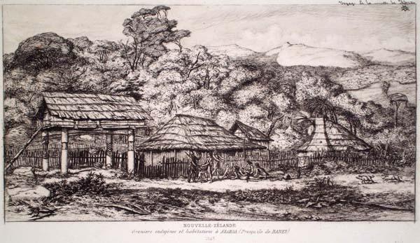 Charles MERYON (Francia, 1821 – 1868) – GRENIER INDIGENE ET HABITATIONS À AKAROA (1865)