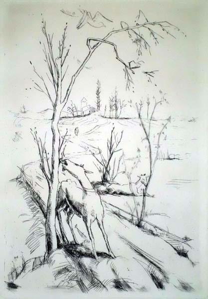 Felix MESECK (Germania, 1883 – 1955) – LANDSCHAFT MID ZEIGEN