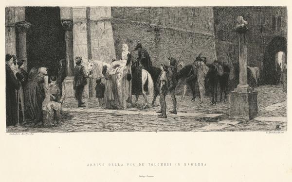 Giuseppe MONTICELLI (Rivara, 1841 – 1879) – ARRIVO DI PIA DE'TOLOMEI IN MAREMMA da S. Martini
