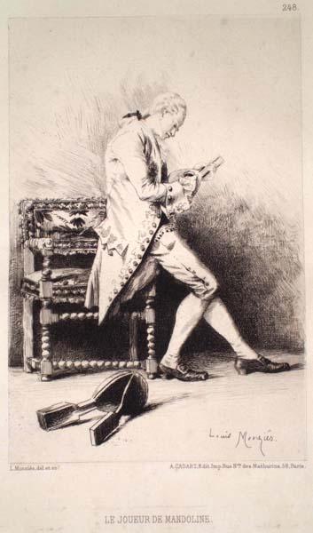 Louis MONZIES (Francia, 1849 – 1930) – LE JOUEUR DE MANDOLIN
