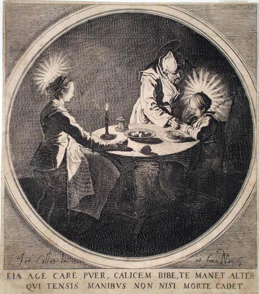 Jacques CALLOT (Lorena, 1592 – 1635) – LE BENEDICITE o LA SAINTE FAMILLE À TABLE (1628)