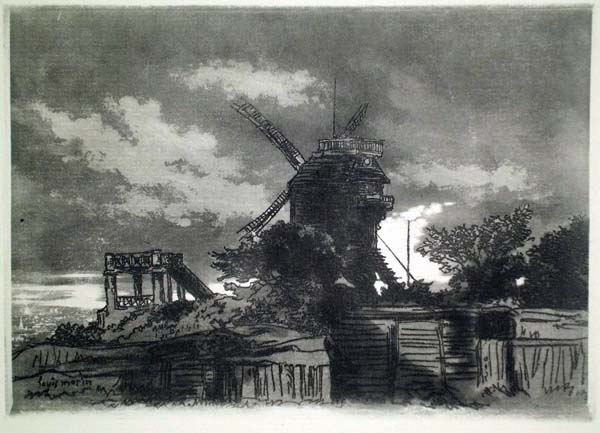 Louis MORIN (Francia, 1855 – 1938) – PAESAGGIO CON MULINO A VENTO