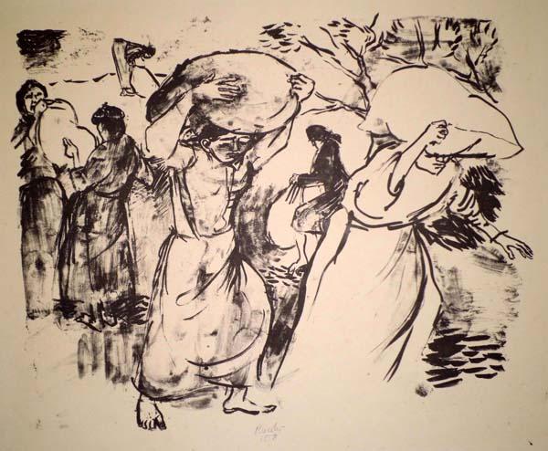 Gabriele MUCCHI (Torino, 1899 – 2002) – RACCOLTA DELLE MANDORLE (1958)