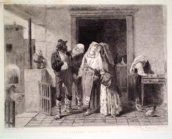 Eleuterio PAGLIANO (Casale Monferrato, 1826 – 1903) – LA PARTENZA DELLA SPOSA