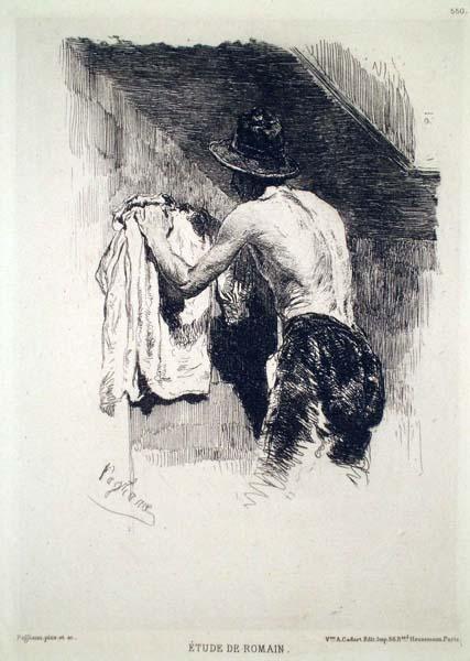 Eleuterio PAGLIANO (Casale Monferrato, 1826 – 1903) – ETUDE DE ROMAIN