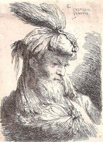 Giovanni Benedetto CASTIGLIONE (Genova, 1616 – 1670) – TESTA DI VECCHIO CON TURBANTE VOLTO A DESTRA
