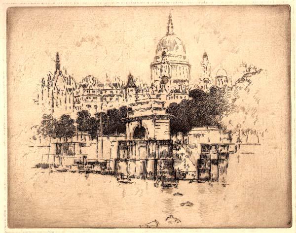 Joseph PENNELL (Stati Uniti, 1858 – 1926) – LE DEBARCADERE DU TEMPLE A LONDRES