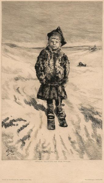 Wilhelm Otto PETERS (Norvegia, 1851 – 1919) – BIMBO SAMI SUGLI SCI (1886)