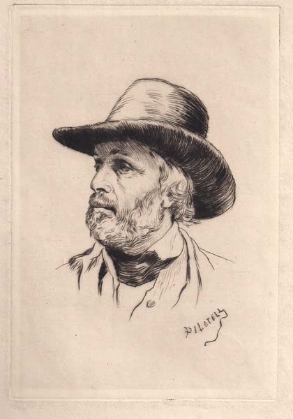 George Labadie PILOTELL (Francia, 1844 – 1918) – RITRATTO D'UOMO CON BARBA E CAPPELLO
