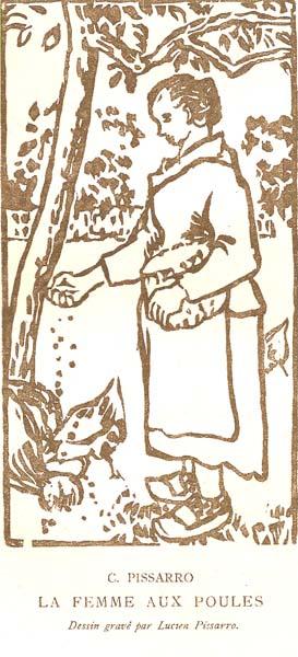 Lucien PISSARRO (Francia, 1863 – 1944) – LA FEMME AUX POULES da Camille Pissarro