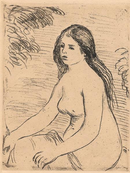 Pierre Auguste RENOIR (Francia, 1841 – 1919) – FEMME NUE ASSISE (1906)