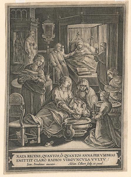 Adriaen COLLAERT (Fiandre, verso il 1560 – 1618) – LA NASCITA DELLA VERGINE da Stradano