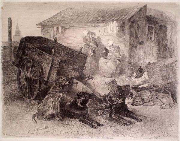 Charles ROCHUSSEN (Olanda, 1824 – 1894) – CARRETTO TRAINATO DA CANI (1855)